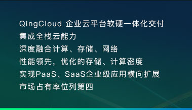 QingCloud 企业云平台软硬一体化交付 集成全栈云能力 深度融合计算、存储、网络 性能领先,优化的存储、计算密度 实现PaaS、SaaS企业级应用横向扩展 市场占有率位列第四